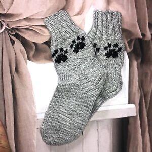 Size XL 41/42/43 Grey Hand knitted  Ethnic Native Folk Style Cosy Lounge Socks