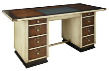 Nautical Sea Captain's Writing Desk Ivory Wooden Office Furniture Ship Decor New