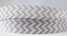 1M X 22mm Grosgrain Ribbon Craft Decorations Hair Bows - Grey Chevron