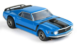 Tomy AFX Mega G+ Blue Ford Mustang Boss 302 Clear Collector Series HO Slot Car