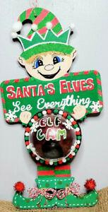 Santa Elf Lighted Faux Camera Wall Hanging Shelf Décor Flashing Cam Red Light