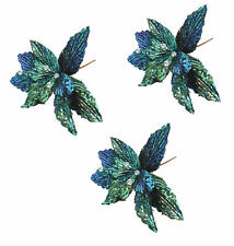 3 x Gisela Graham Sparkle Metallic Blue Green Poinsettia Christmas Pick Flower