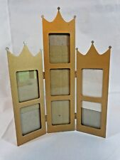 Hinged Picture Frame Gold Crown Top Holds 7 Wallet Photos Wall or Table Display