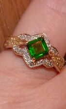 10KT YG RUSSIAN Chrome Diopside & Diamond SQUARE EMERALD  CUT  RING SIZE 9