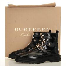 Burberry Black Everdon Brouge Black Leather Ankle Boots - Size 35.5 EU (5.5 US)