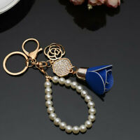 Pendant Fashion Rhinestone Pearl Rose Bag Keyring Key Chain Charm Jewelry Gifts