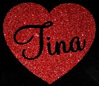 PERSONALISED NAME RED HEART GLITTER IRON ON HOTFIX TRANSFER Diamante T Shirt