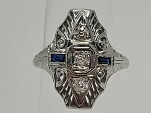 18k White Gold 1920's Belais Nat. Diamond & Blue Sapphire Filigree Ring Size 5