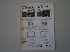 advertising Pubblicità 1965 CANON CANONET PRORA