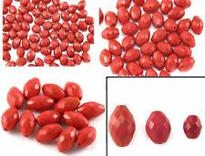 Rojo Facetado Oval Perlas de Vidrio Forma De Oliva Checa cuentan con acento 8mm 14mm 10mm 20mm