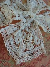 Tiny French Antique Lace collar dolls Jabot Tie hand made Battenberg Brugges