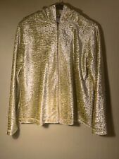 Chico's Size 1 Women's Lime Green Comfy Hoodie ZIP-UP Jacket. Great Condition!