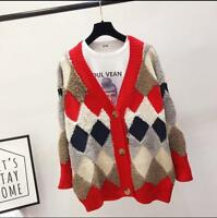 2020 Womens Vogue Checked V-Neck Cardigan Sweater Long Sleeves Knitted Coat