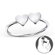 Tjs 925 Sterling Silver Toe Ring Double Twin Love Heart Adjustable Jewellery