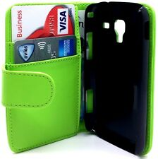 Green Leather Wallet Pouch Flip Case Cover For Samsung Galaxy Ace 2 GT-I8160