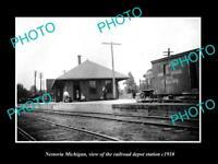 OLD LARGE HISTORIC PHOTO OF NESTORIA MICHIGAN, THE RAILROAD DEPOT STATION c1910
