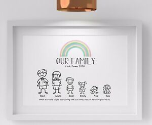 Personalised Our Family Tree Print Lockdown Picture Birthday NHS Nurse Gift 2020
