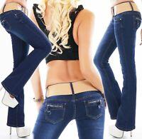 Femmes Pantalon Jeans Pattes D'Éléphant à D'Éléphants Bootcut Denim Stretch Bleu