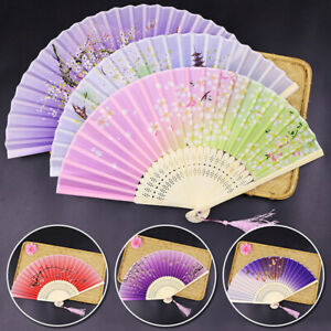 Vintage Chinese Silk Bamboo Folding Fan Hand Held Dancing Party Fan Flowers