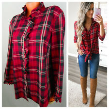 Ralph Lauren Chaps 2X 18 20 Button Down Shirt Tunic Plaid Checked Red Ruffle   K