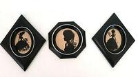 Vtg 3 Silhouette Pictures Victorian Ladies Black Frames MCM Retro Wall Decor art