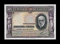 SPAIN 1935 50 PESETAS P-88A BANKNOTE ☆ CHOICE AU ☆ HARD & CRISP ☆