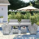 8pcs Patio Furniture Garden Wicker Sofa Table Set W/cushion Tempered Glass Table