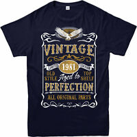 Personalised Made in 1981 Vintage T-Shirt, Born 1981 Birthday Age Year Gift Top