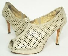 $325 PAUL GREEN Womens 10 7.5  Passion Gold Suede Peep Toe Cut Out Booties Heels