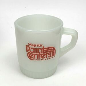 Fire King Anchor Hocking Majestic Paint Center Logo Coffee Cup Mug White Red Vtg