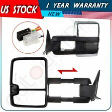 Power Chrome Signal Side View Tow Mirrors For 88-98 C/K 1500 2500 3500 Tuck Pair