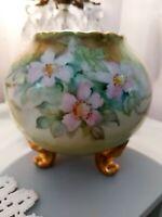 Vintage Signed Limoges Hand Painted Footed Porcelain Vase Purple Violets Gold