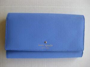 Kate Spade New York Mikas Pond Phoenix Trifold Leather Wallet - Delphinium NWT