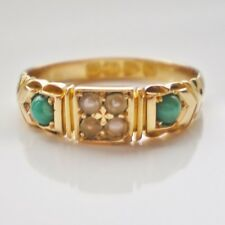 Charming Antique Victorian 18ct Gold Turquoise & Pearl set Ring c1897; Size 'P'