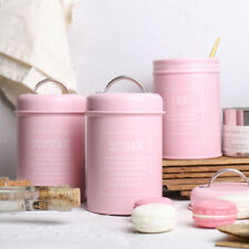 3pcs Metal Canisters Tins Kitchen Grain Tea Coffee Storage Container Pink