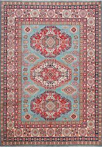 5x7 Blue Geometric Super Kazak Oriental Area Rug Wool Hand-Knotted Foyer Carpet