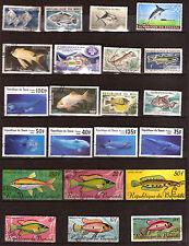 POISSONS de mer et aquarium  de 4 pays d'Afrique (voir detail pays )  G57