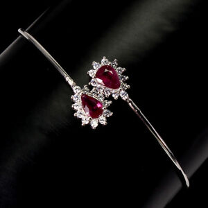 Pear Red Ruby 6x4mm Cz 14K White Gold Plate 925 Sterling Silver Cuff Bangle