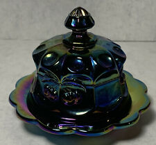 Mosser Purple Carnival Glass Round Butter Dish w Domed Top Cherry Cable Mosser