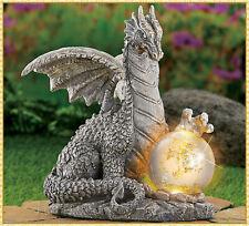 "Solar Gazing Ball Dragon Garden Figurine Outdoor Lighted Yard Statue Decor 10"""