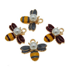 8X Enamel Gold Alloy+Pearl Bumble Bee Honey Bee Pendant Charms Accessories 53597