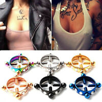 Stainless Steel Sexy Round Fake Non-Piercing Nipple Ring Screw Body Jewelry Gift