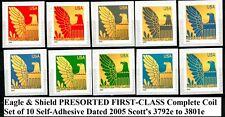 Eagle & Shield 2005 PRESORTED 1st Class Coil Set 10 MNH Scott's 3792e to 3801e