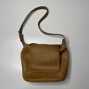 Vintage Coach Light Brown Wheat Leather Cowhide Zip Satchel Shoulder Bag