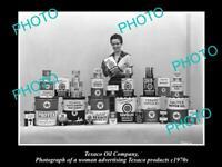 OLD 8x6 HISTORIC PHOTO OF TEXACO OIL COMPANY ADVERTISING DISPLAY c1970s 2