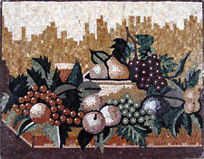 Artistic Fruit Basket Colorful Grapes Apples Green Arbor Kitchen Mosaic GEO2241