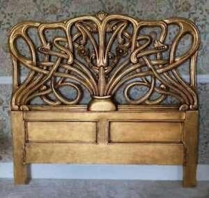 Art Nouveau Cheri Gilt 5' King Size Mahogany Gold Freestanding Headboard Louis