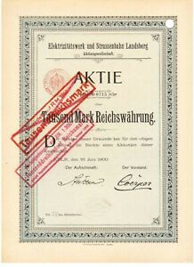 Elektrizitätswerk und Straßenbahn Landsberg AG Köln 1900
