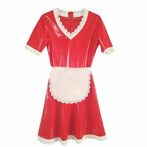 Latex Rubber Gummi Bodysuit Maid dress Party Cosplay Ganzanzug Men M
