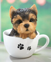 Adorable YORKIE Teacup Puppy Peeking Realistic Statue Dog Pet Breed Gift